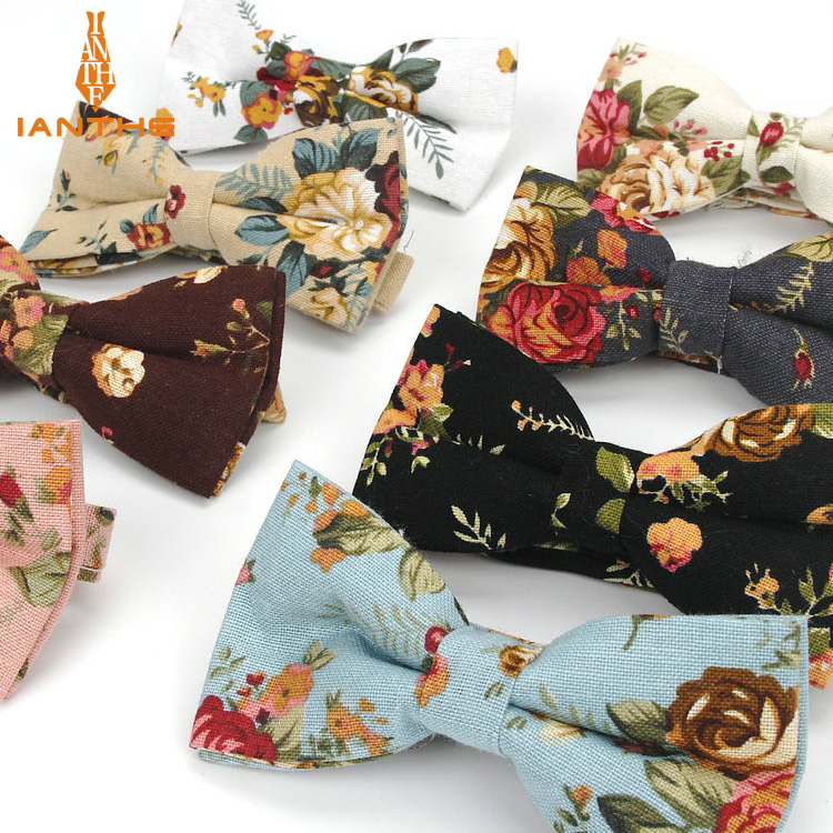 2018 Brand New Men's Vintage Flower Printed Neck Ties For Man Classic Wedding Groom Linen Gravatas Corbata Bowtie Butterfly