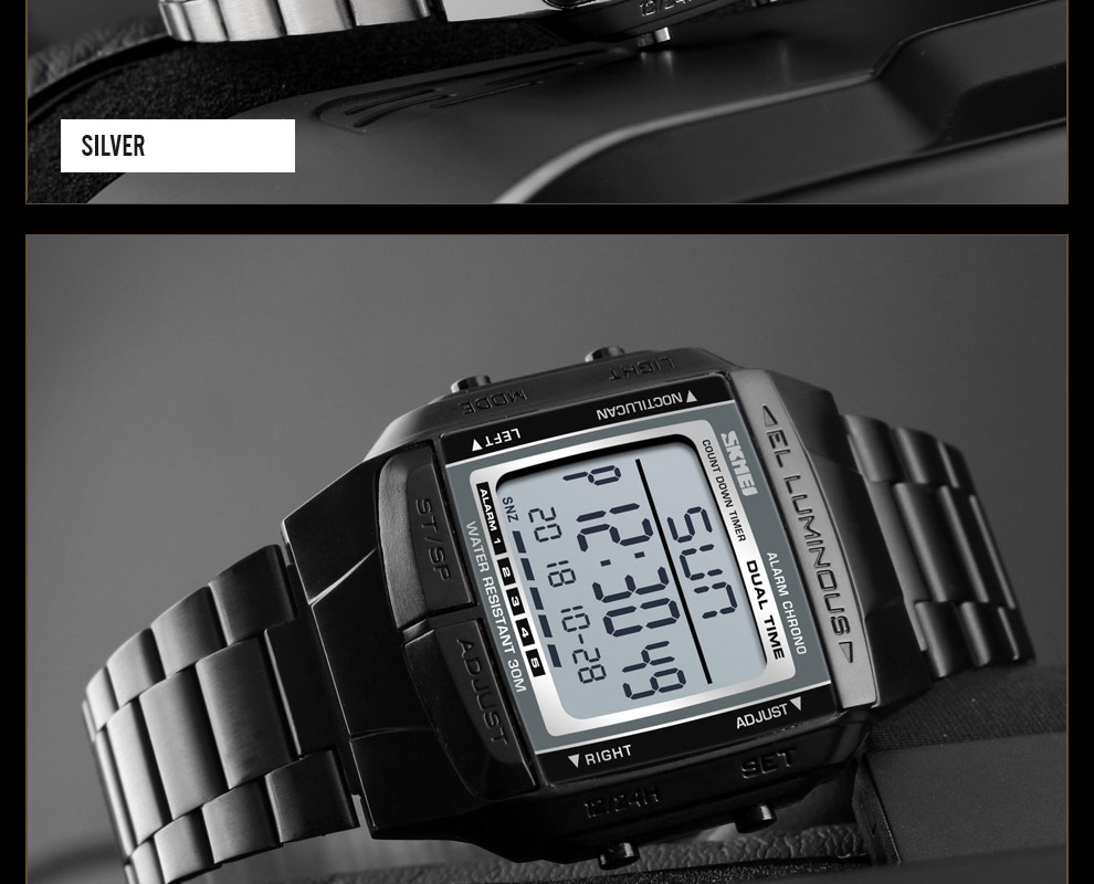 SKMEI Sports Watch Men Digital Watch Alarm Clock Countdown Watch Large Dial Glass Mirror Clock Fashion Outdoor Relogio Masculino 25