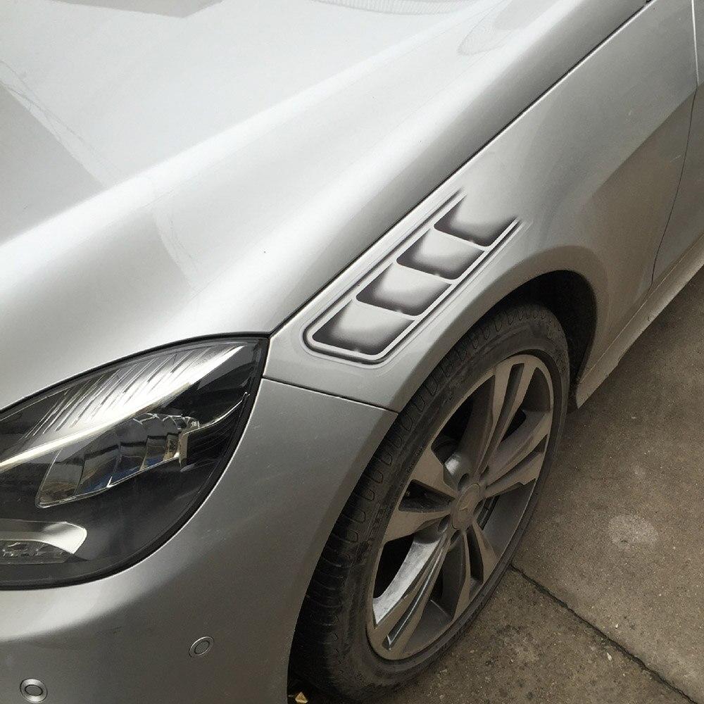 Car sticker design online malaysia - 1pair Shark Gills Car Styling 3d Vent Air Flow Fender Chrome Glue Sticker Decal Car Truck