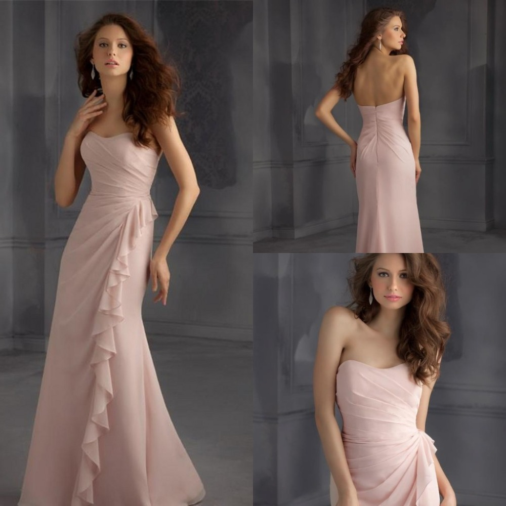 sexy sweetheart pink chiffon long Bridesmaid Dresses 2015 Pleat ruffles mermaid New Fashion Casamento vestido de madrinha in Bridesmaid Dresses from Weddings Events