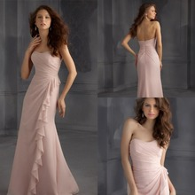 sexy sweetheart pink chiffon long Bridesmaid Dresses 2015 Pleat ruffles mermaid New Fashion Casamento vestido de madrinha