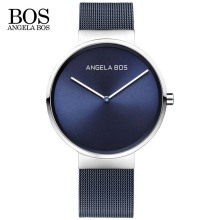 ANGELA BOS Ultra Thin Simple Nordic Design Watch Men Sapphire Weave Stainless Steel Waterproof Mens Watches
