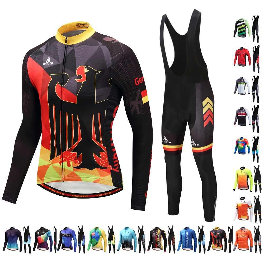 Miloto Men/'s Cycle Clothing Long Sleeve Jersey /& Pants Bib Tight Set Blue-Green