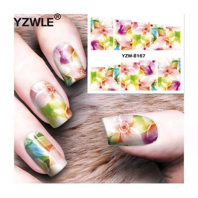 YZWLE 1 Sheet DIY Decals Nails Art Water Transfer Printing Stickers Accessories For Manicure Salon  YZW-8167
