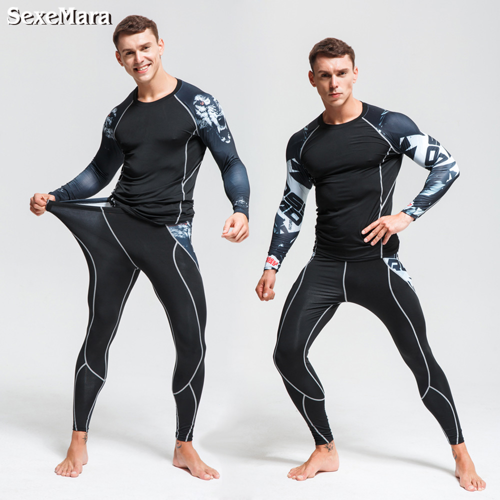SexeMara thermal underwear Men's underwear set compression tracksuit rashgard Fitness thermo MMA Gym sport suit men's Long Johns(China)