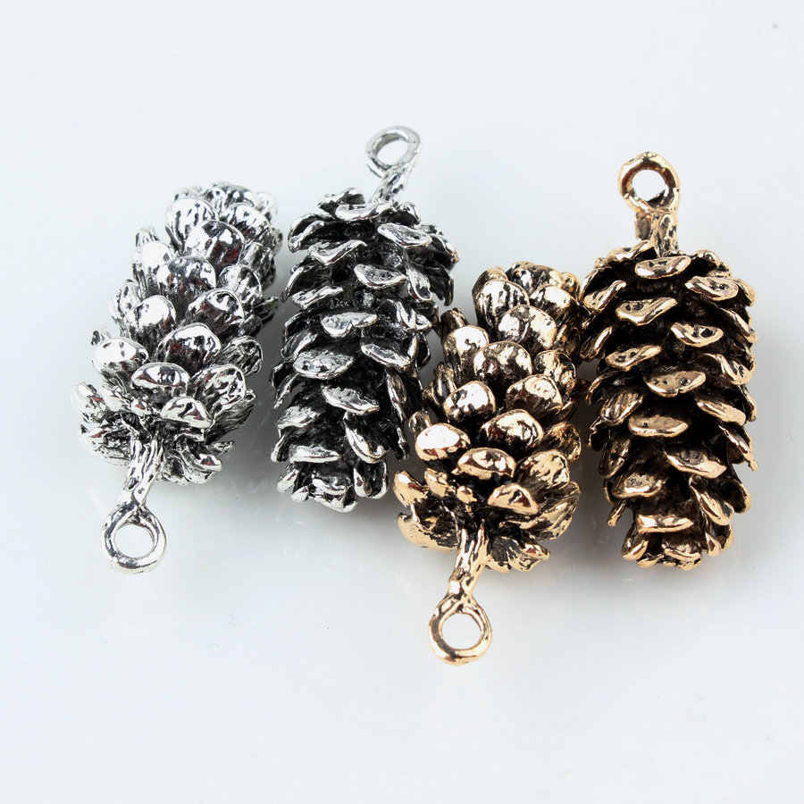5pcs 39*15MM DIY antique gold vintage silver big pine nut Pineal fruit pinecone charms accessories alloy small pendant ancient
