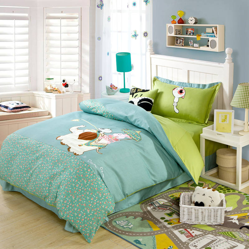 Blue Green Elephant Floral Applique Embroidered Bedding Sets Twin Full Queen Size Duvet Covers Bedspreads Cotton Woven ChildrenBlue Green Elephant Floral Applique Embroidered Bedding Sets Twin Full Queen Size Duvet Covers Bedspreads Cotton Woven Children