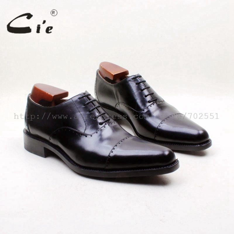 cie Free Shipping Bespoke Handmade Genuine Calf Leather Outsole Men's dress/classic /casual Oxford Color Black Captoe Shoe OX715 cie free shipping mackay craft bespoke handmade pure genuine calf leather outsole men s dress classic derby dark gray shoe d47