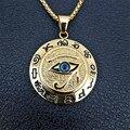 Alte Ägypten Das Auge Des Horus Anhänger Halsketten Für Frauen Und Männer Gold Farbe Edelstahl Runde Schmuck Dropshipping