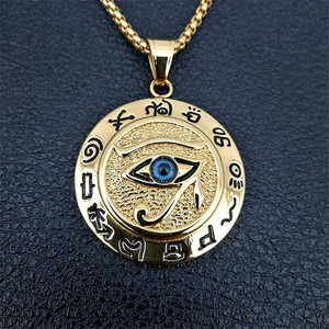Ancient Egypt The Eye Of Horus Pendant Necklaces For Women And Men Gold Color Stainless Steel Round Jewelry Dropshipping(China)