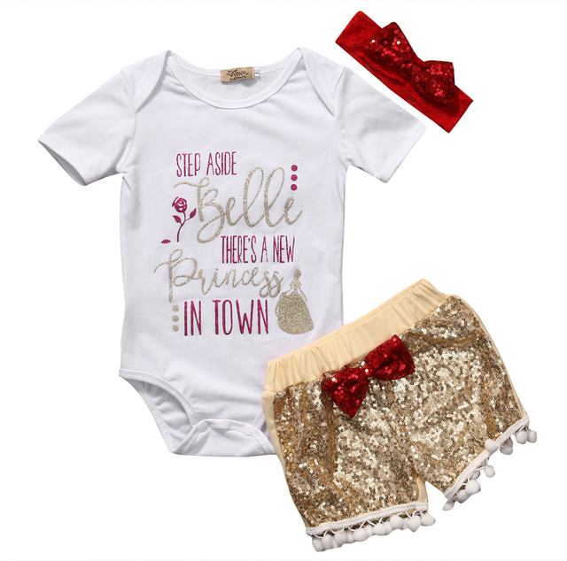 cb3d58c45 2017 casual white letter o-neck Baby Girl Newborn Clothes 3PCS Romper  Headband Jumpsuit Gold Pants Outfits Set