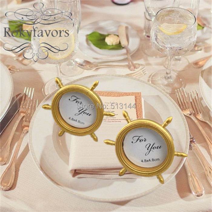 FREE SHIPPING 100PCS Nautical Theme Gold Ship Wheel Photo Frame Place Card Holder Wedding Favors Souvenir Gifts In Party From Home Garden On