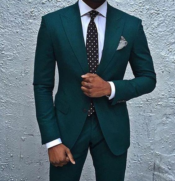 2017 Latest Coat Pant Designs Dark Green Men Suit Jacket Style Suits