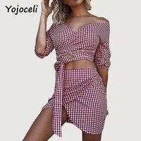 Yojoceli 2018 Summer Party Club Vintage Plaid Dress Women Off Shoulder Two Pieces Dress Asymmetrical Hem