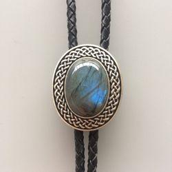New JEAN'S FRIEND винтажный посеребренный ручной работы Природный Голубой Камень лабрадорит Западный Овальный Боло галстук каждый камень уникале...