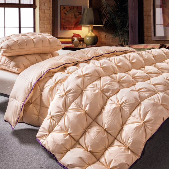 Golden color Twisted flower Goose Down comforter king queen full twin size Thick winter Quilted Stitching duvet Solid color