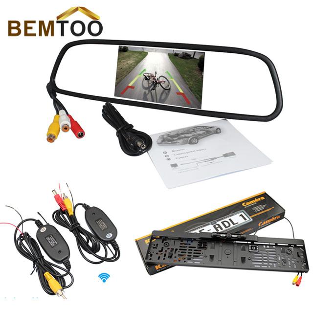 Bemtoo monitor espelho sem fio 5 ''hd 800*480 para visão traseira de estacionamento backup de câmera de visão noturna placa de licença europeu sensor de