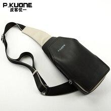P. KUONE Marke Mode Schultertasche Brusttasche/Schultergurt Crossbody Tasche Männlichen Schwarzen Umhängetasche Bolsa Sacoche Homme