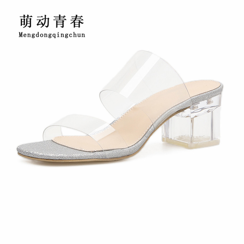 New Women Sandals Fashion Gladiator PVC Casual Slip On Summer Shoes Women Sexy Shallow Clear Heel High Heel Sandals new women sandals low heel wedges summer casual single shoes woman sandal fashion soft sandals free shipping