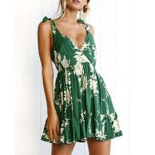 2018 новые летние поступления Boho зеленый Цветочный принт с v-образным вырезом спинки Спагетти ремень рукавов линии летние пикантные пляжное платье