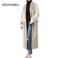 2019 Autumn and Winter New Double sided Cashmere Coat Llama High end Stitching Long Warm Jacket Tq175