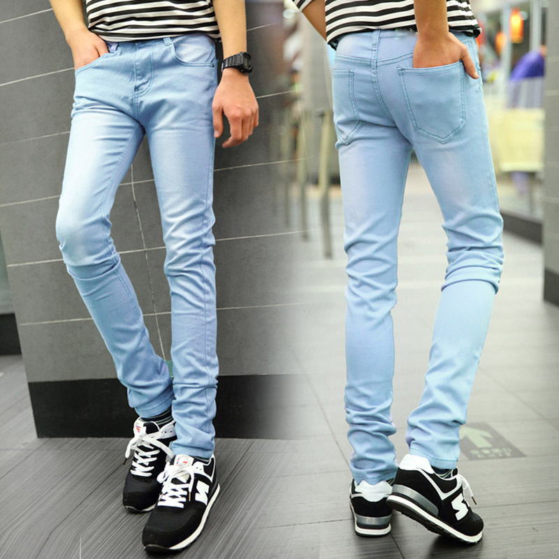 Light blue 2016 New arrived Denim Skinny Jeans men hight quality spring men's fashion jeans Slim fit Straight Korean trend men s cowboy jeans fashion blue jeans pant men plus sizes regular slim fit denim jean pants male high quality brand jeans