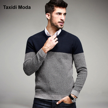 2016 Winter Mens Fashion Pullover Patchwork Khaki Strick Marke Kleidung Mann der Strickwaren Pullover Stricken Taste Kleidung