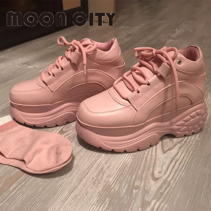 Femmes baskets 2019 mode plus blanc plate-forme baskets dames marque Chunky casual chaussures Femme en cuir chaussures de sport Chaussure Femme - 5