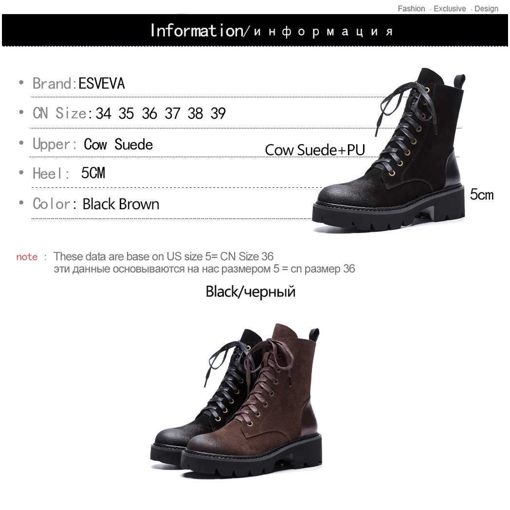 ESVEVA 2020 ผู้หญิงรองเท้าหนังนิ่มฤดูใบไม้ร่วงรองเท้าข้อเท้ารองเท้าบูทรอบ Toe สแควร์ส้น Elegant สีดำรองเท้าผู้หญิงขนาด 34-39