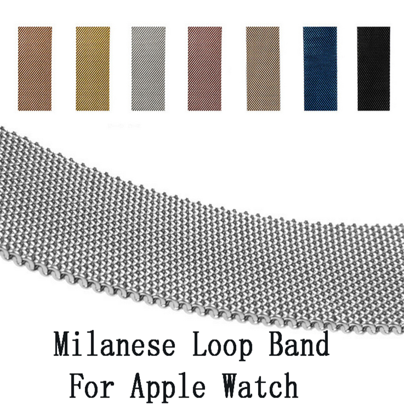 For Apple Watch 38mm 42mm Series 1 2 3 Stainless Steel Strap Belt Metal Milanese Loop Band Wristwatch Bracelet Replacement crested milanese loop strap metal frame for fitbit blaze stainless steel watch band magnetic lock bracelet wristwatch bracelet