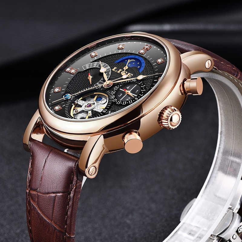 LIGE montre mécanique hommes Sport Tourbillon automatique Top marque de luxe Relojes Hombre cuir Phase de lune montres hommes Relogio + boîte