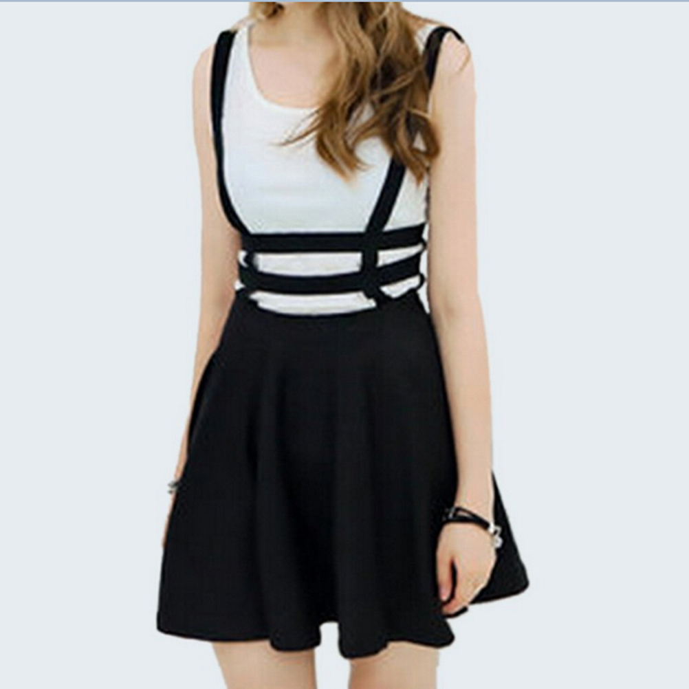 Summer Suspender Skirts Femme Girl Ruffles Skater Pleated Short Braces Skirt Back Zipper Hollow Out Skirts Black