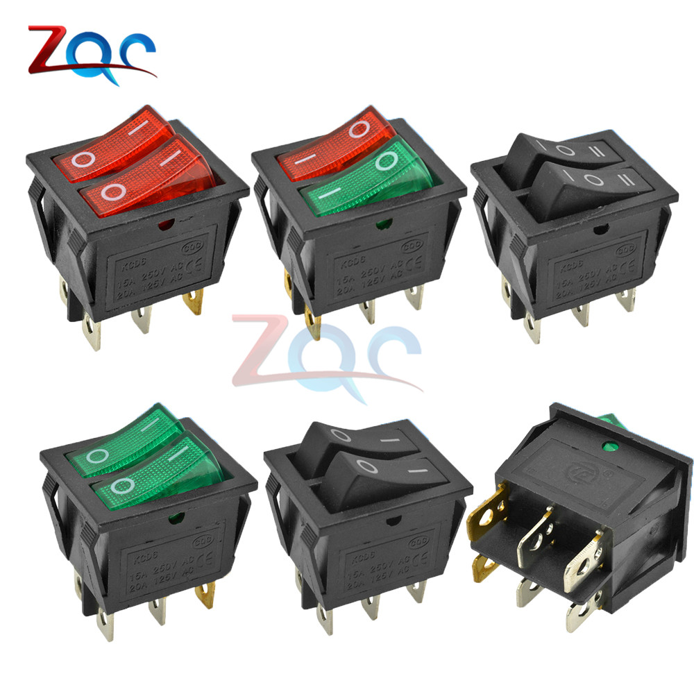 KCD6 Dual Rocker Switch ON-OFF 2 3 Position 6 4 Pin 6Pin 4pin Electrical Equipment Double Light Power Switch 15A/250V AC