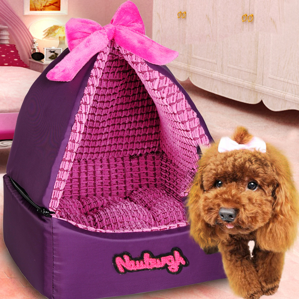 Lovely Detachable purple washsble samll pet tent bed dog cat tent housr bed Soft luxury dog Princess Bed dog teddy House bed