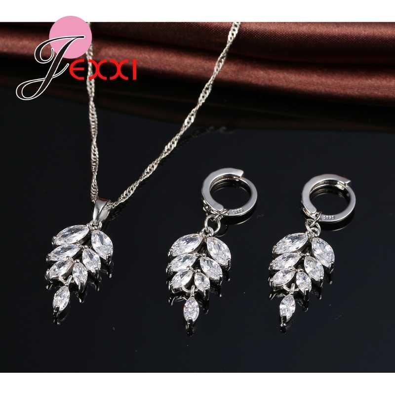 Trendy Mode Zirkonia Blume Blätter Neckalce Ohrringe Brincos Kragen 925 Sterling Silber Hochzeit Schmuck-Set Geschenk