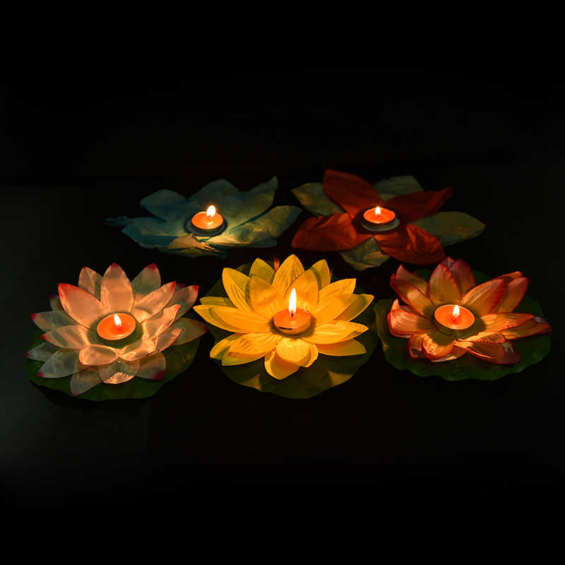 Multicolor Silk Lotus Lantern Light Floating Candles Pool Decorations Wishing Light Birthday Wedding Party Decoration