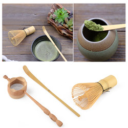 3 個の天然竹茶ストレーナー抹茶器ブラシ緑茶粉末泡立て器スクープセット日本茶器セレモニー