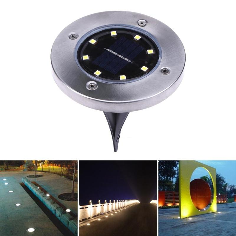 4pcs/set Solar Powered Ground Lights 8 LED Lighting Buried Ground Light for Outdoor Path Garden Lawn Landscape Decoration Lamp