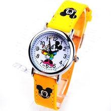 1 шт. Микки Маус бренд детские Мультяшные наручные часы модные из искусственной кожи спортивные часы дамы Стразы платье часы relogios