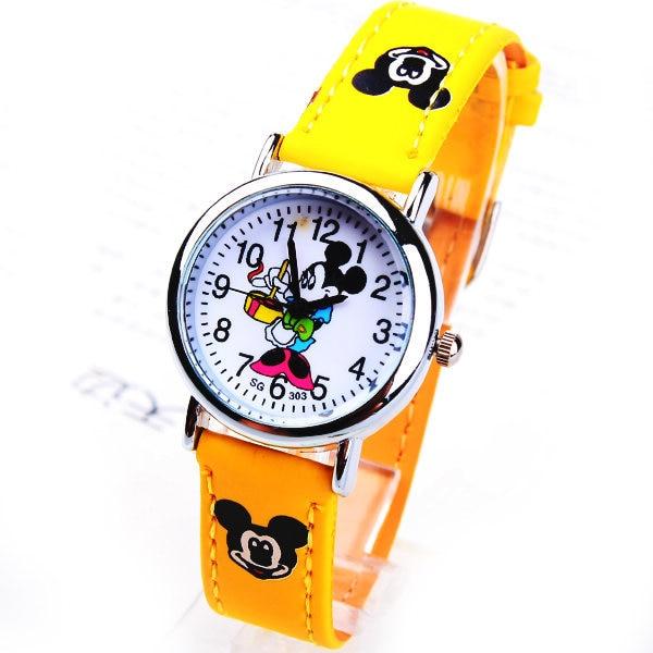 1pcs Mouse Mickey Brand Children Cartoon Wrist Watch Fashions Pu Leather Sports Watches Ladies Rhinestone Dress Clocks Relogios