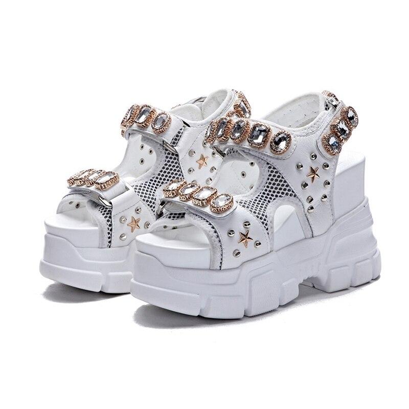 Women s Summer Sandals Fashion Rhinestone Wedges Sandal Super High Heels Female Sandals Shoes 2019 Woman