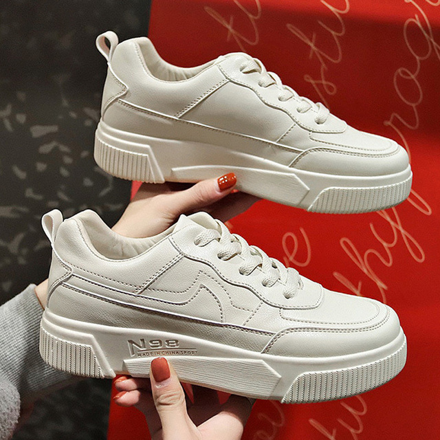 New Women Vulcanize Shoes White Chunky Sneakers Fashion Sneakers Women Shoes Women Flats Sneakers Shoes Platform Trend Shoes