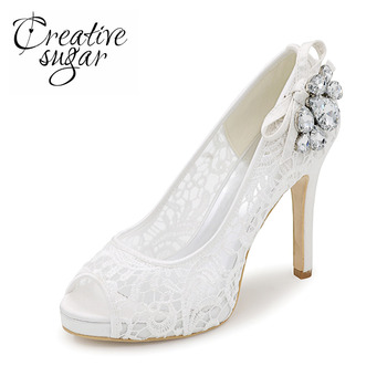 Creativesugar See through lace woman high heels crystal pink black white ivory mesh dress shoes party wedding pumps open toe