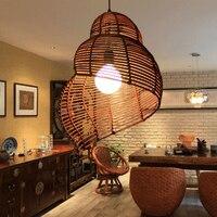 Duszpasterska południowo-wschodniej Azji Rattan Droplights Muszla Morze Ślimak Wisiorek Światła Oprawy Wiszące Lampy Restauracji Hotelowej Kawiarni