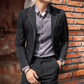 Blazer Men Black Grey Casual Mens Blazer Jacket Business Dress Stage Costumes Vintage Blazer Wedding Jacket Men Suit Coat