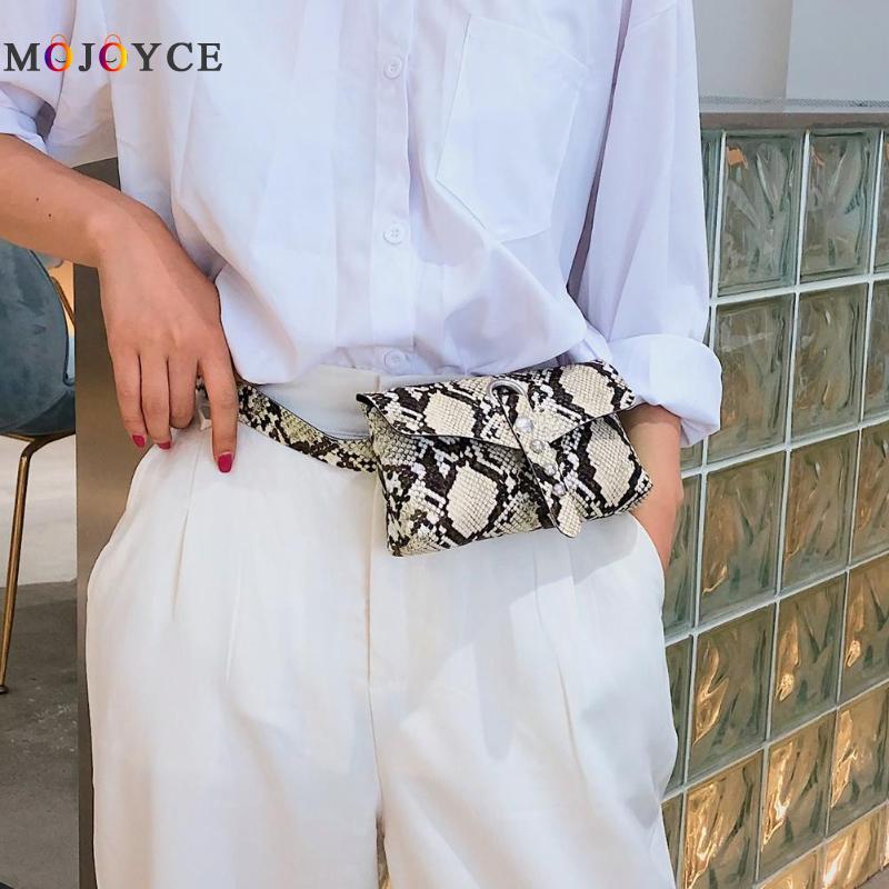 Rivet Snake Print Women Waist Bag Fashion Flap Fanny Pack Serpentine PU Leather Belt Bag