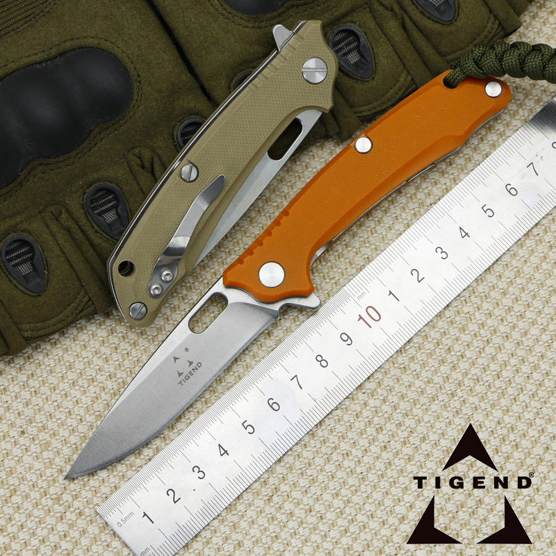 TIGEND Outdoor 1809 Ball Bearing Folding Knife 9cr14 Blade G10 Handle Camping Adventure Mountaineering Tactical EDC Tools ganzo g7362 g7362 gr folding 440c automatic stonewashed blade green g10 handle outdoor adventure multi camping climbing tool