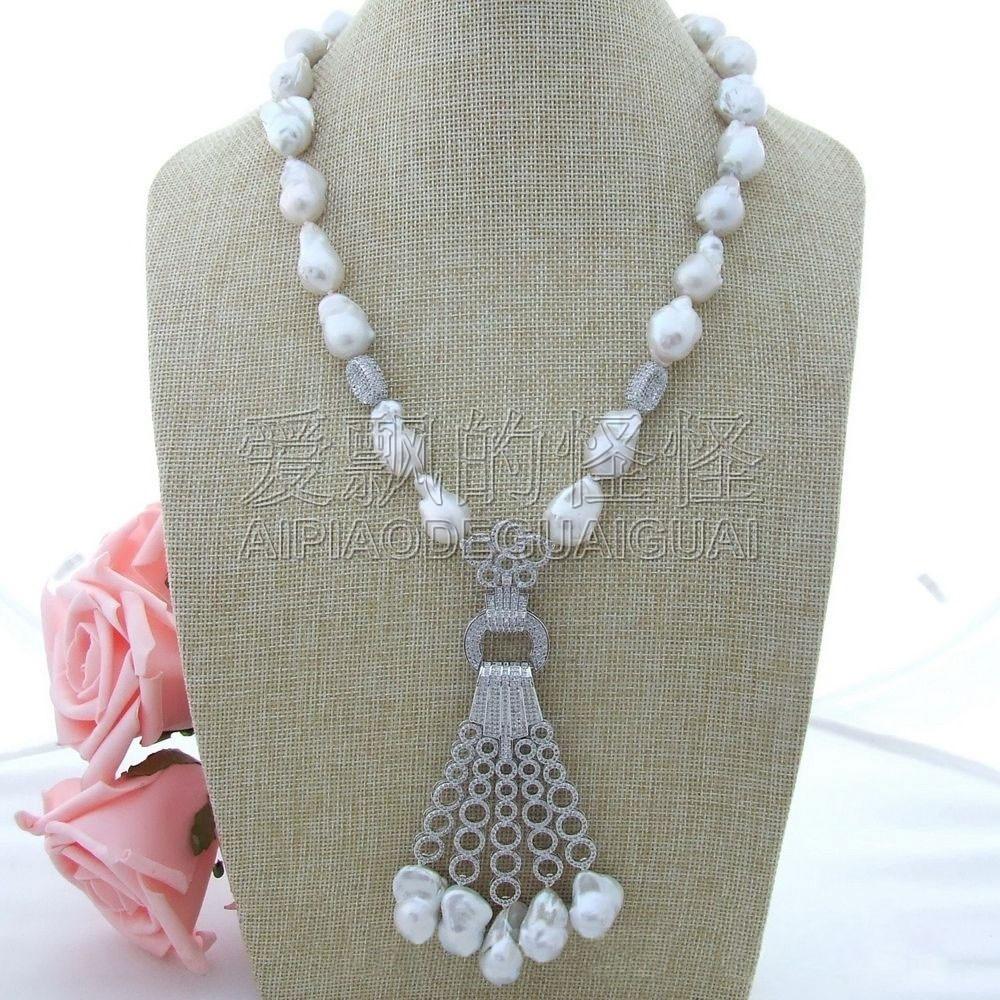 N030601 22 White Keshi Pearl Necklace CZ Pendant n121905 22 white keshi pearl necklace cz pendant