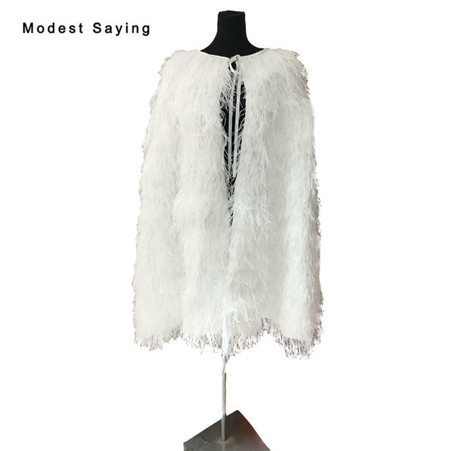 8eb8b32bf1d2 Luxury 100cm Ivory Ostrich Feather Wedding Fur Boleros Cape 2018 Knee  Length Bridal Jacket for evening dress Wedding Accessories