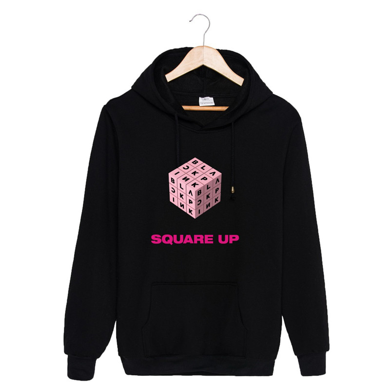 KPOP Blackpink Album SQUARE UP Hoodies Hip Hop Hooded Long Sleeve Tops Pullovers Sweatshirts PT831